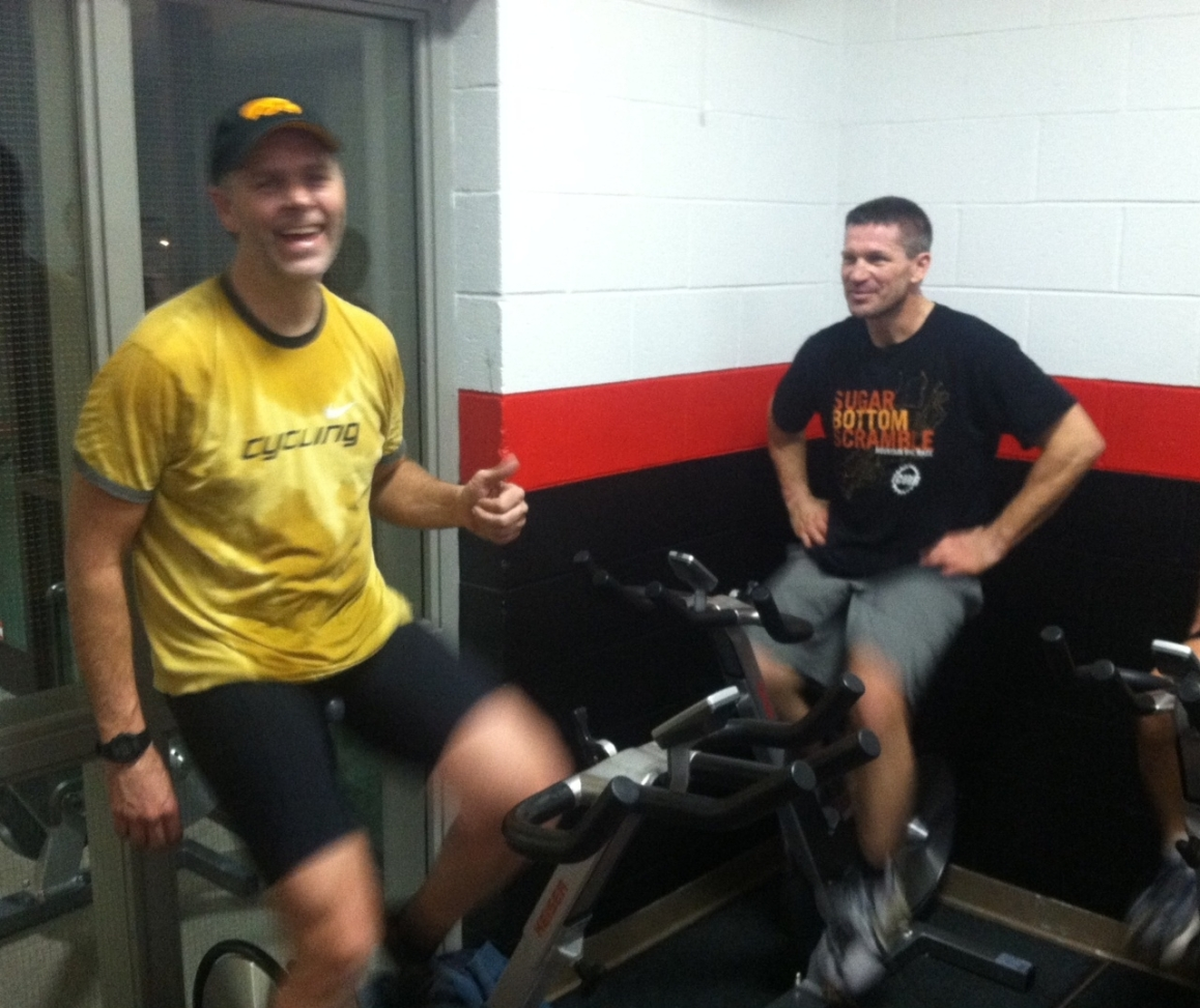 Neither Bill Ford, left, nor Jon Sulzber are likely to have learned much -- or even broken a sweat -- in the class they attended Monday night at the Muscatine Community Y.
