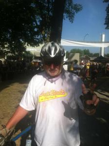 Dave Matthews of Muscatine takes a break during RAGBRAI in 2012.