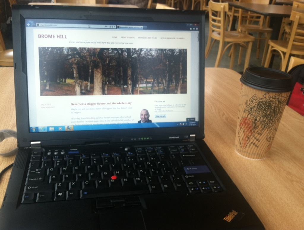 Blogging this morning from Elly's Tea & Coffee House, the secondary home for Brome Hill.