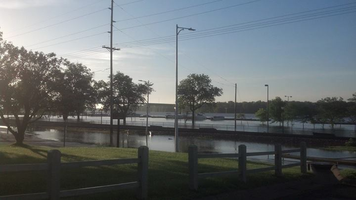 This portion of Mississippi Drive is still under water this morning in Muscatine.