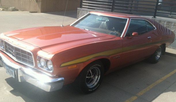 This mid-1970s Ford Gran Torino was spotted Sunday in downtown Muscatine.